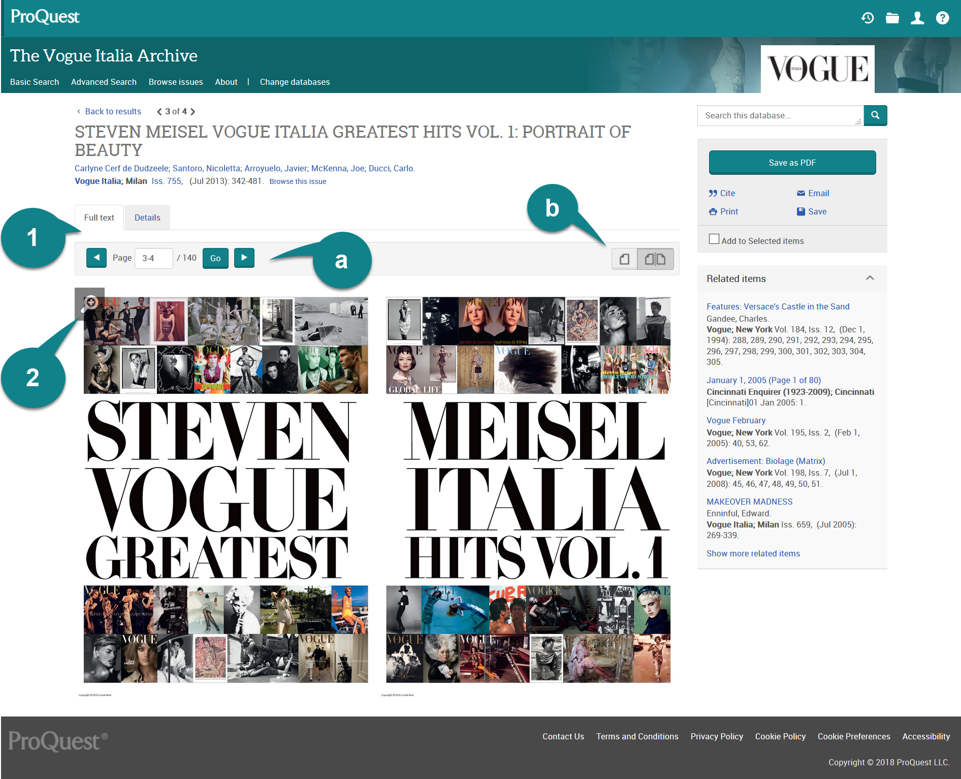 Full record view from Vogue Italia