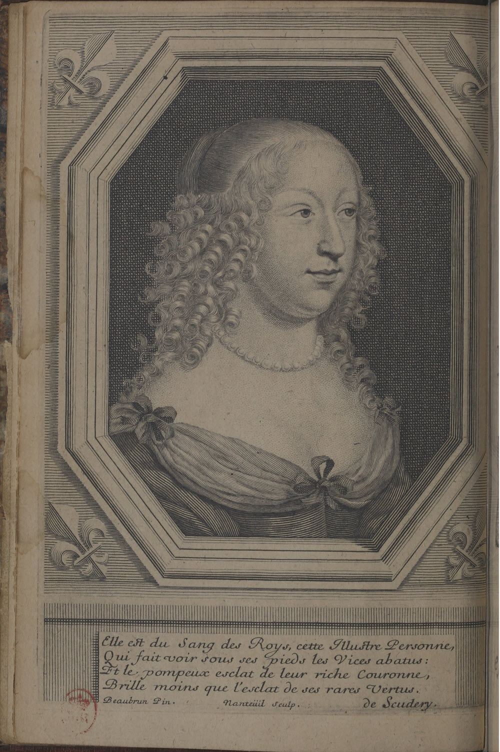 Portrait of Madeleine de SCudery from Clelie Histoire Romane Coll 8 1656