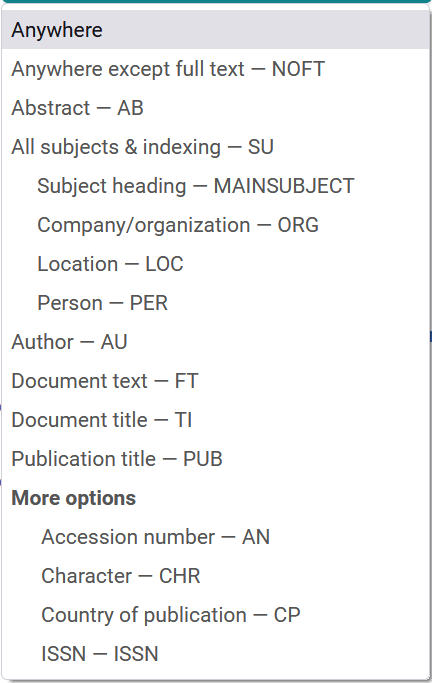 Music and Performing Arts Collection Searchable Fields menu