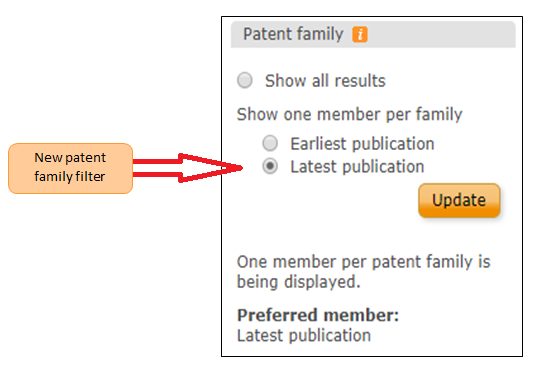New Patent Family Filter: Latest Publication