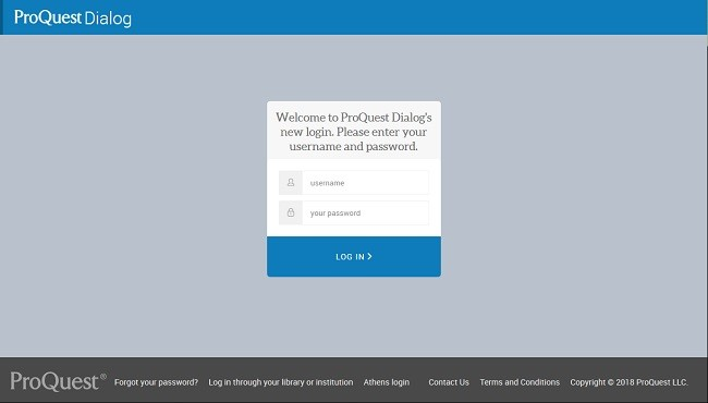 ProQuest Dialog new login page