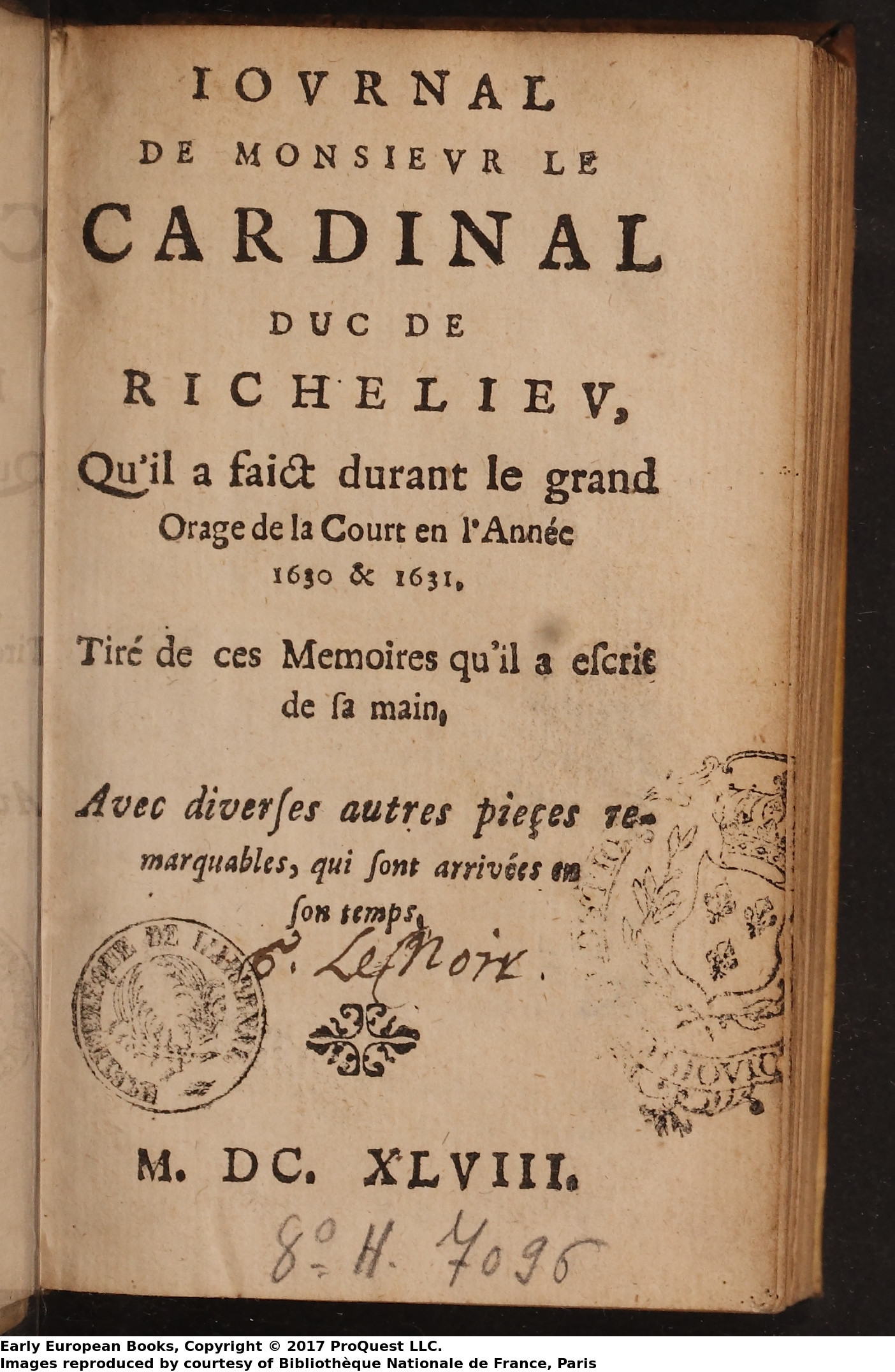 Journal de M. le Cardinal duc de Richelieu 1648