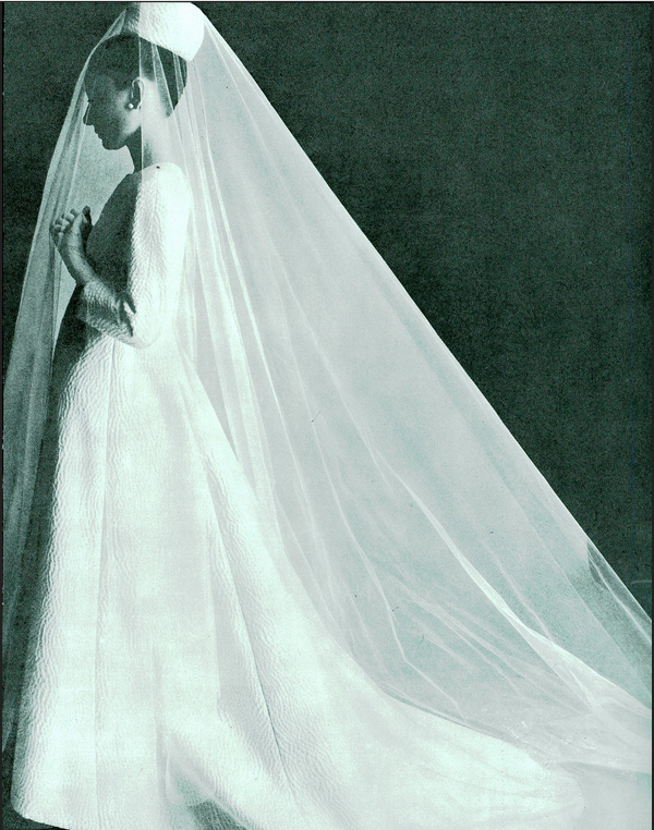 Oct1964 Audrey Hepburn models Givenchy bride gown
