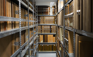 photo of archival library shelving