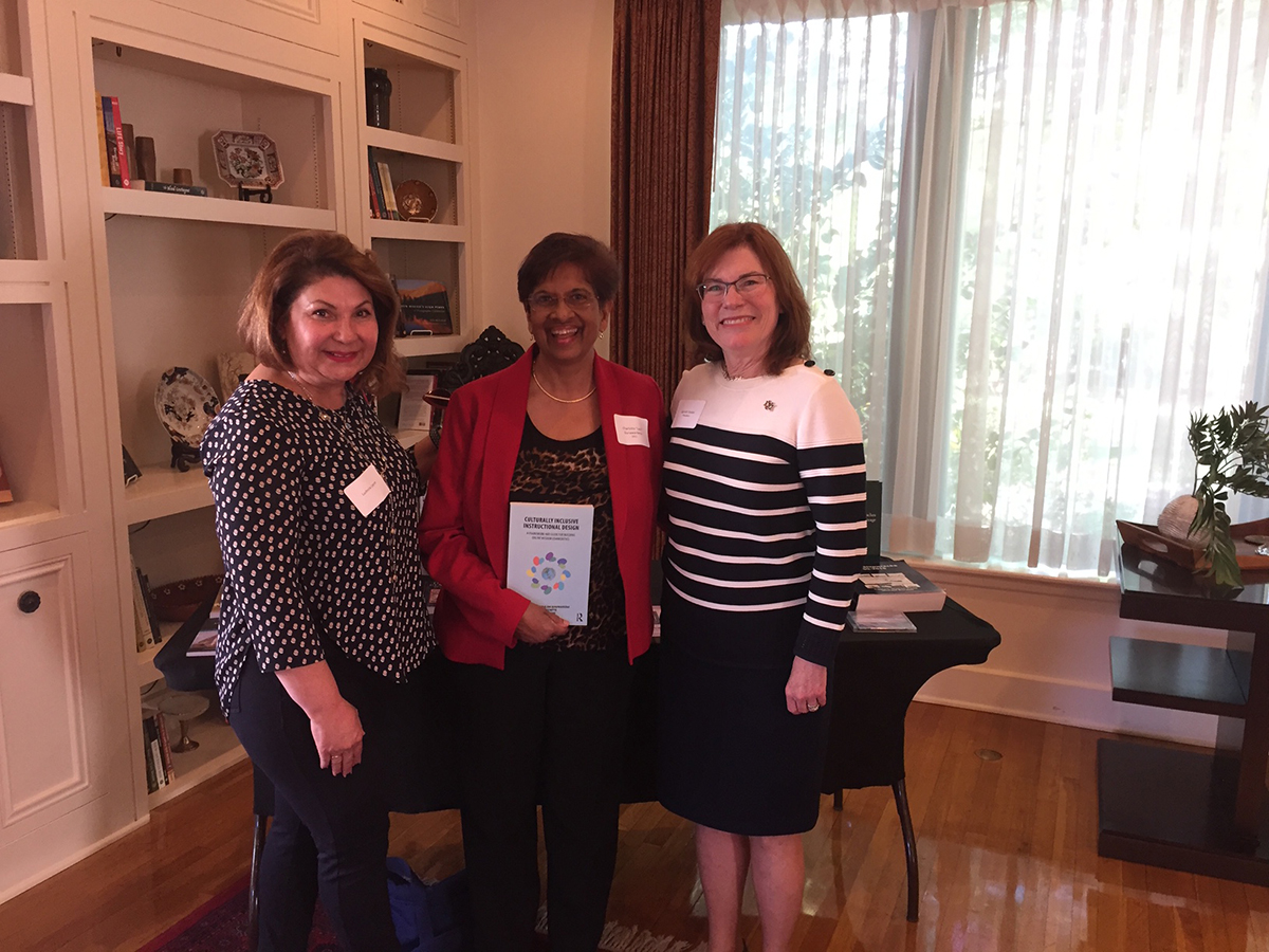 Left to right - Ludmila Layne, Co-author, Lani Gunawardena, and President Stokes