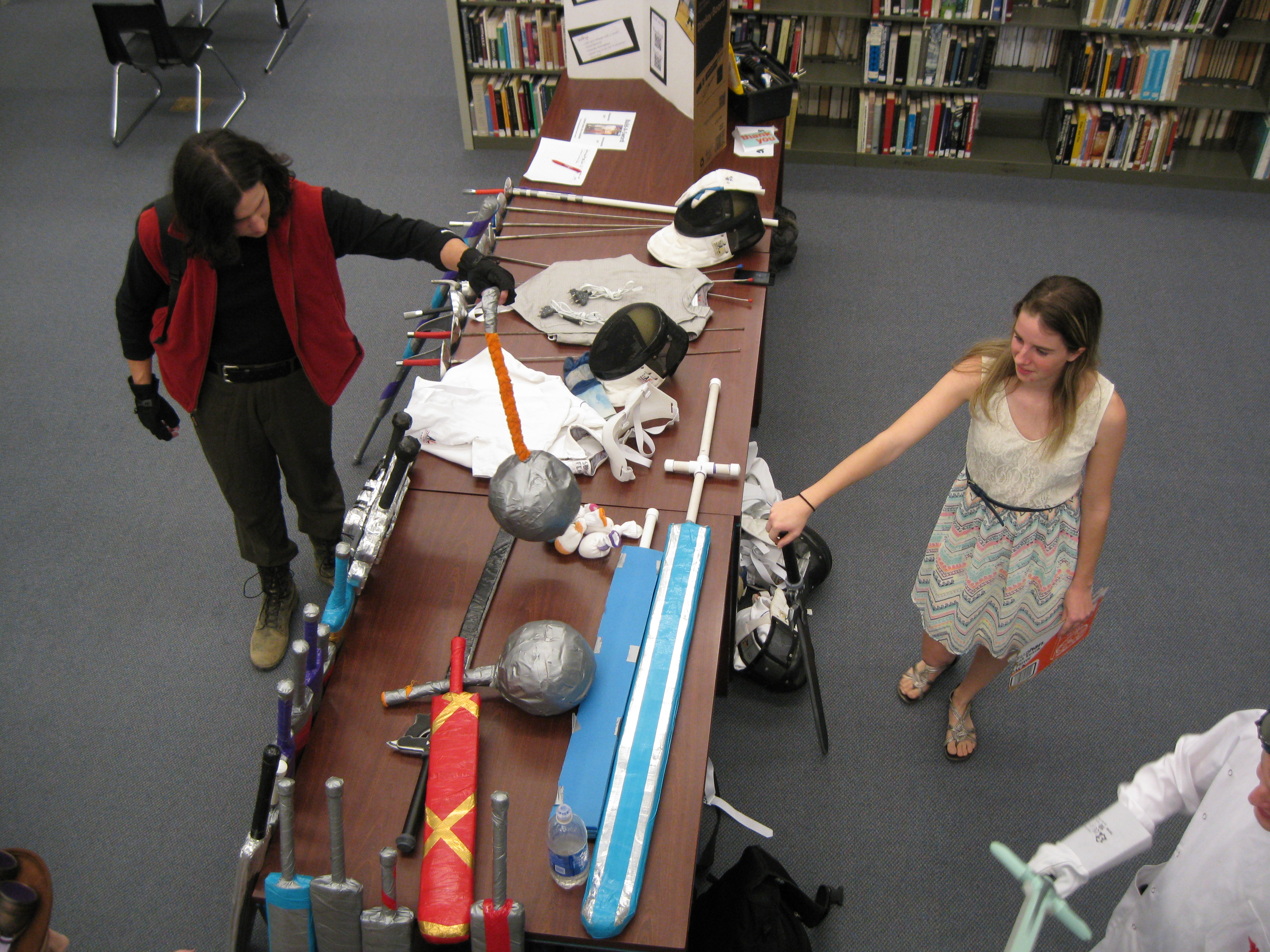 Students with Foam Weapons for Larping -  Hutchens Library, SBU, 2017