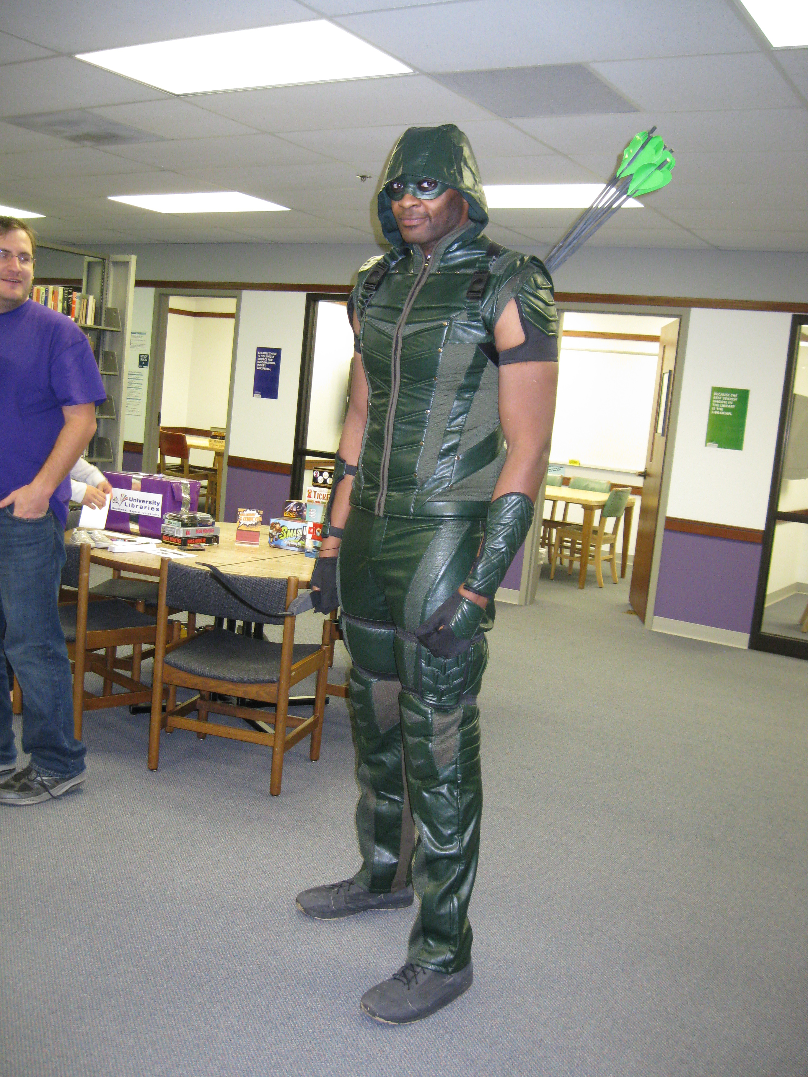 Tall Man in Green Arrow Costume - Hutchens Library, SBU, 2017