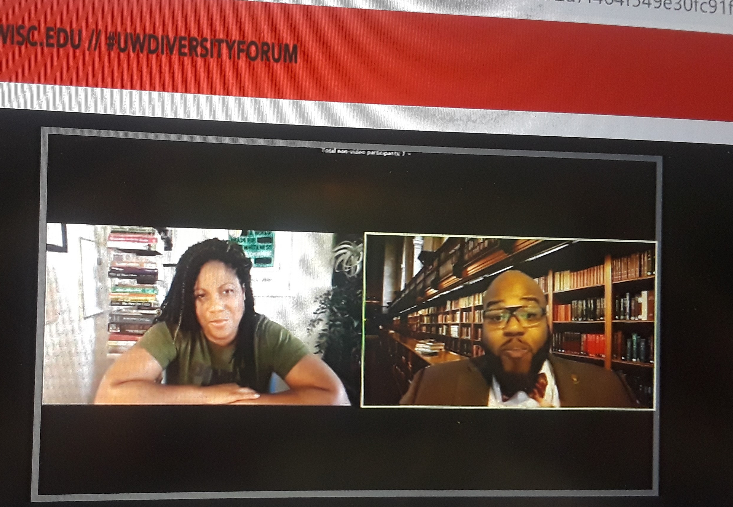 Author Austin Channing Brown discussing her collection of books with UW's LaVar J Charleston