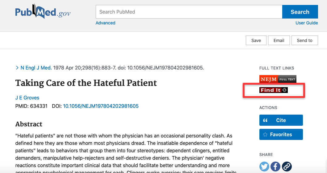 Screenshot of article on PubMed with FindIt button