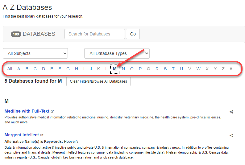 Articles & Databases page with letter M selected and letter choices indicated.