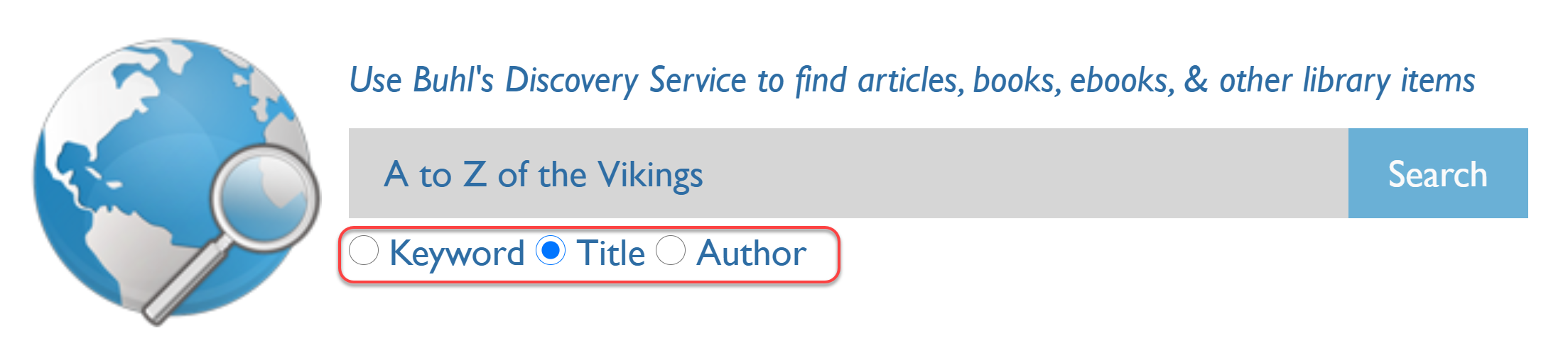 Discovery search for A to Z of the Vikings, using the title bullet limiter.