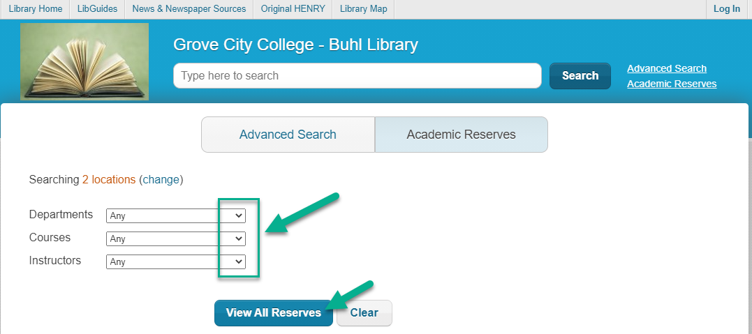 Screengrab of Henry Academic Reserves search screen with departments, courses, and instructors drop-down menus indicated.