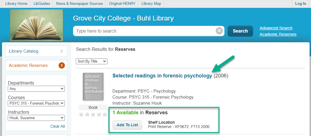 Screengrab of results list for Dr. Houk with title and availability for Selected Readings in Forensic Psychology indicated.
