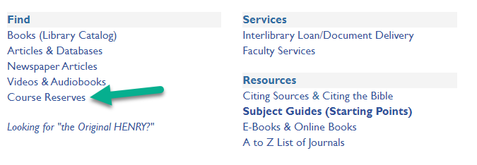 Screengrab of hbl.gcc.edu with the Course Reserves link indicated.