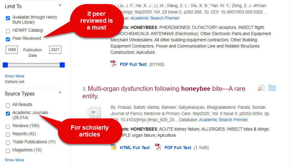 Screengrab of Discovery with Peer reviewed and Academic journal limiters highlighted.