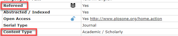 Ulrich's screengrab highlighting Refereed and Content Type which provide peer review and scholarly status, respectively.