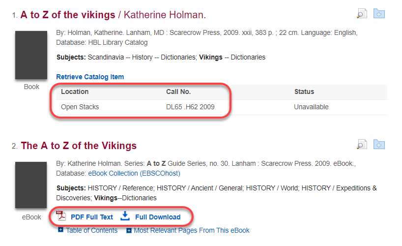 Discovery search result for A to Z of the Vikings. Print and ebook copies are available; location, call number, PDF, and full download information and links are indicated.