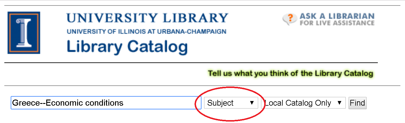 """Image of library catalog with """"Subject"""" highlighted"""