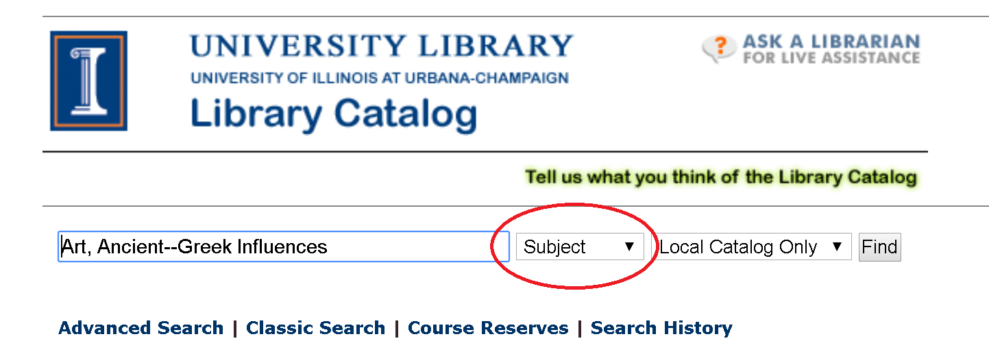 Image of library catalog with subject search highlighted