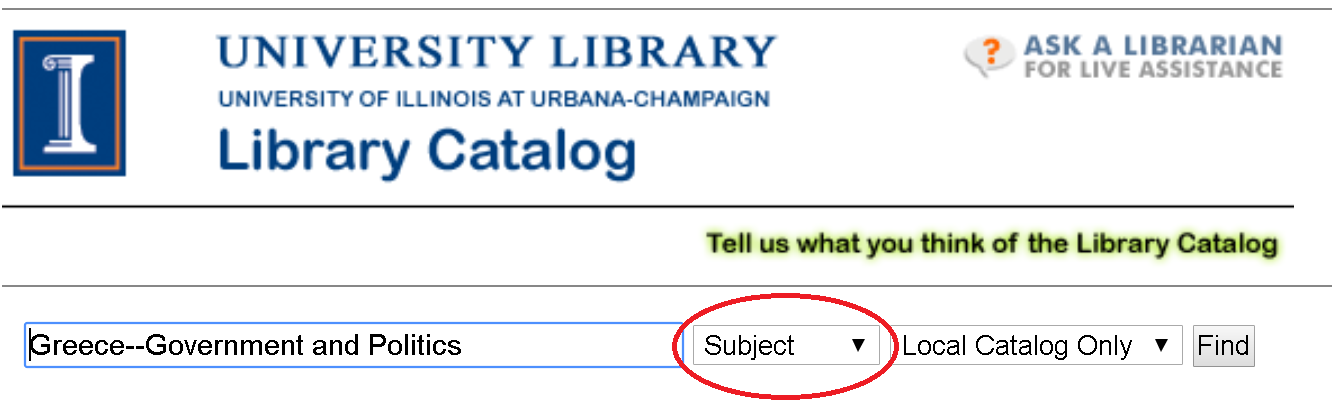 "Image of library catalog with ""subject"" highlighted"