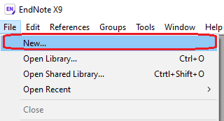 EndNote Navigation, select File > New for New Library