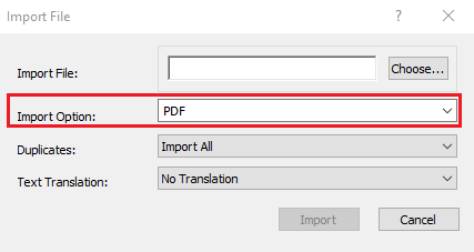 Screenshot of EndNote's Import File Window with Import Option, PDF highlighted