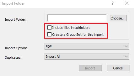 Screenshot of EndNote window for import folder