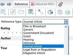 EndNote screenshot of Add Reference Type menu
