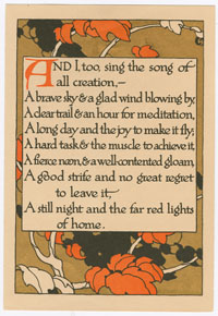 Poem with orange leaves.