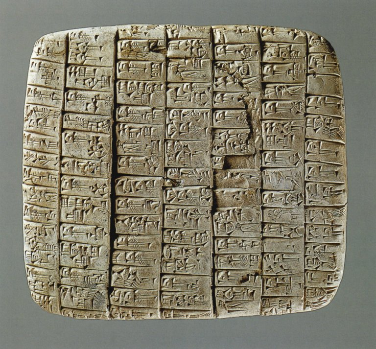 Clay tablet with incised cuneiform text.