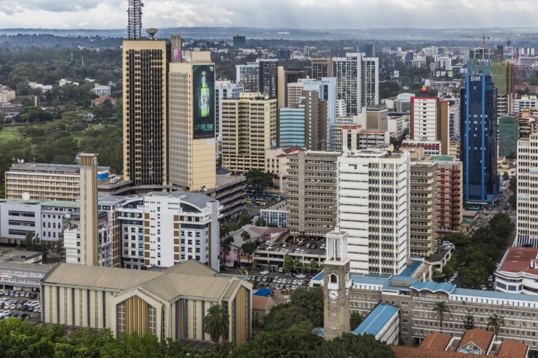 Overview of the city of Nairobi with skyscrapers