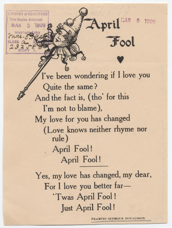 Text of poem with clown's head at upper left
