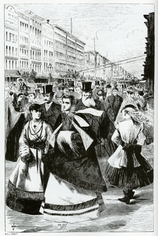 Print of people in 19th century fashions walking in New York City
