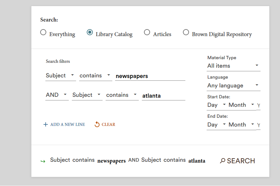Text Box: BruKnow Advanced Search for Newspapers