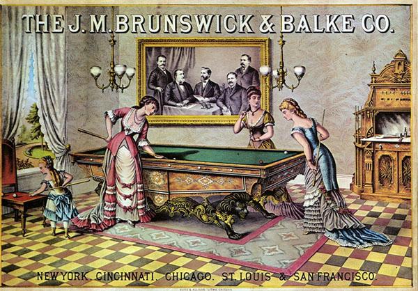 Advertisement showing 19th century women playing billiards