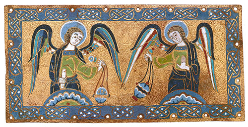Two angels swinging censers in a border