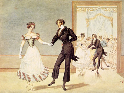 Young woman and man in early 19th century dress dancing