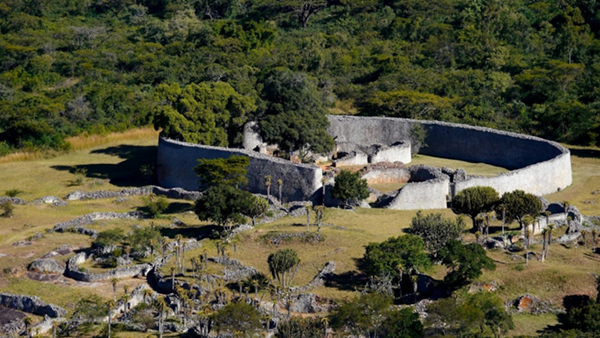 Aerial view of ancient stone enclosure