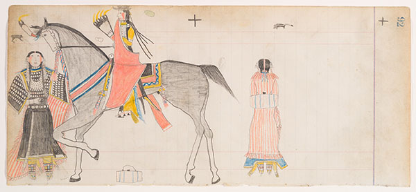 Native American man on horseback with two women