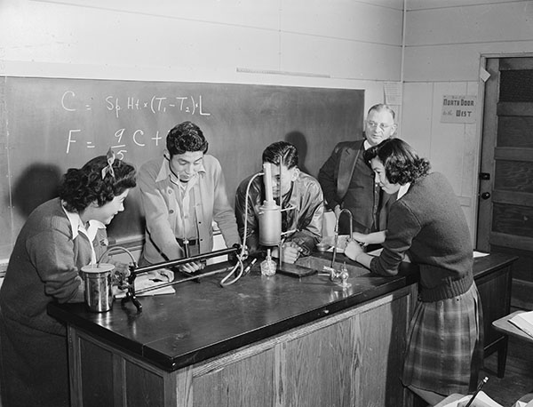 Japanese-American high school students in a classroom