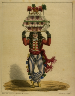 Man wearing mask and costume carrying elaborate house model on head