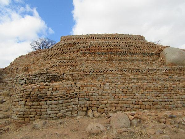 Multi-colored stone block ruins