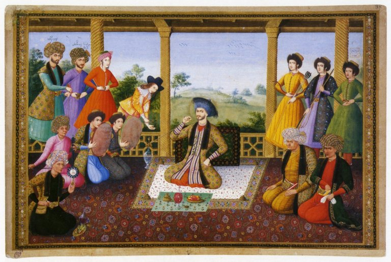 Persian king seated on carpet, surrounded by courtiers.
