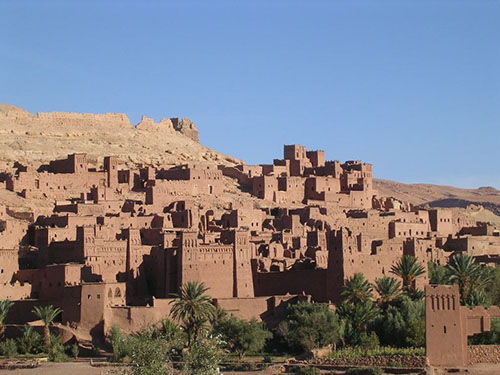 View of ancient stone city in Morocco