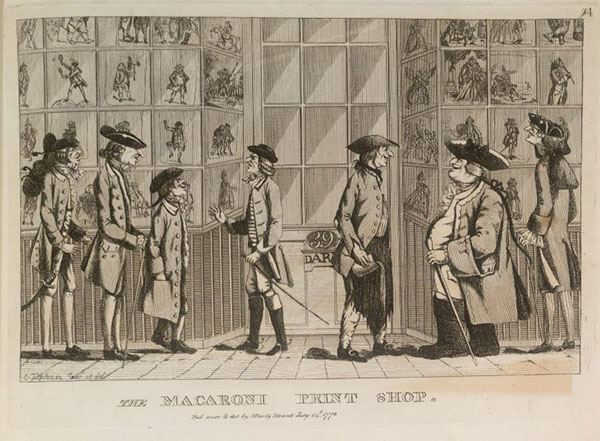 18th century men looking at prints in a shop window