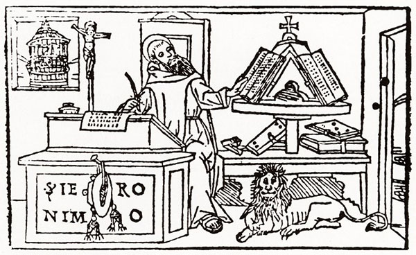 Saint Jerome writing at his desk with lion and bookcase