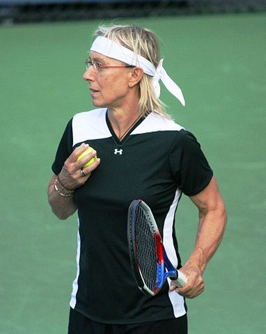 Martina Navratilova playing tennis