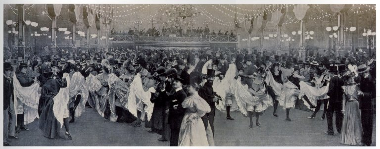 Photomontage of patrons and dancers inside the Moulin Rouge dance hall.