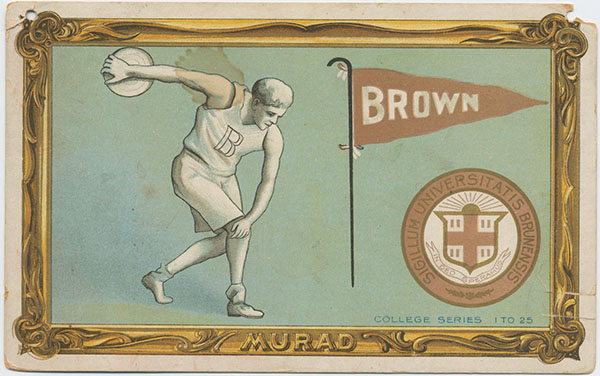 Athlete hurling discus next to Brown University flag and seal