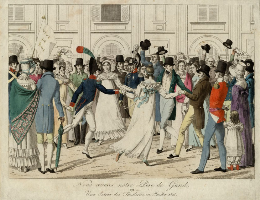 Men and women dancing in early 19th century dress